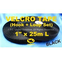 "GRADE AA VELCRO TAPE NON-Adhesive BLACK 1"" x 25m Hook & Loop Set"