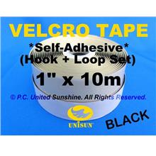 "GRADE AA VELCRO TAPE Self-Adhesive BLACK 1"" x 10m Hook & Loop Set"