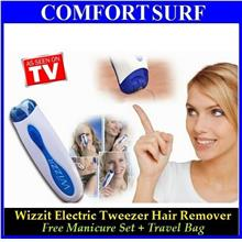 Wizzit Electric Tweeze Tweezer Shaver + Free Manicur Set & Travel Bag