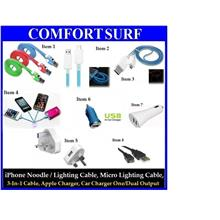 i5 Micro USB Noodle Lighting Charging Cable Car Charger iPhone