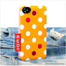 OSKAR Polka Dot Back Cover Case for iPhone 4 4s - Dark Yellow