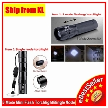 Portable 5 Mode Zoomable Torchlight Flashlight Adjustable Torch Light