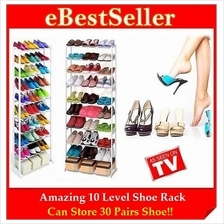 Amazing Space Saving 10 Tier Level Shoe Shoes Rack - Store 30 Pairs