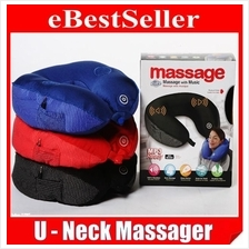 Electric U Neck Massager Music MP3 Speaker Rest Travel Total Pillow