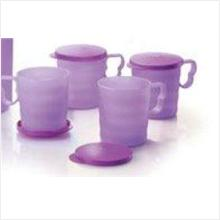 Tupperware Purple Mugs and Seals (4) 350ml Save 15%