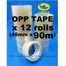High Quality OPP TAPE 48mm x 90m L (100Y) x 12 ROLLS for Packaging