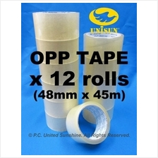 Transparent Plastic OPP TAPE 48mm x 45m L x 12 ROLLS for Packaging