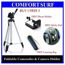 Foldable Camcorder & Camera Tripod wf FREE Phone Holder, Carrying Bag