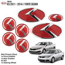 ORIGINAL KIA FORTE Optima K5 7 Pcs Black/Red Emblem Logo