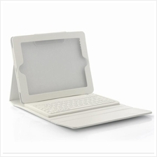 White Case with Spillproof Bluetooth Keyboard for New iPad and iPad 2