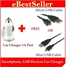 Clearance Stock Offer Car USB Charger 1A Port + Free Micro/Mini Cable