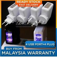 4 USB Port Charger Wall Adapter 2.1A with 4 International Plugs