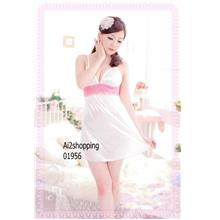 01956Quality lace bow halter fun Sexy Lingerie nightdress+G-string