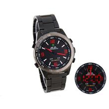 Weide Dual Time Led Stainless Steel Watch Black Red