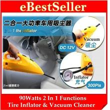 FREE GIFT + 2 in 1 Car Dual Function Tire Inflator wf Vacuum Cleaner