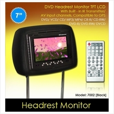 7' Black Leather Headrest TFT Monitor w/ DVD/VCD/MP3/CD [7002-Black]