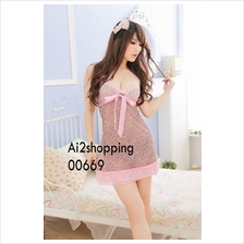 00669Exquisite stitching pink leopard sexy sexy nightgown+Thong