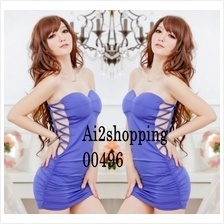 00496New sexy nightclub Slim Ice Cotton sides dress+thong(send strap)