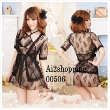 00506New fine lace sexy pajamas sexy stunner Value four pieces