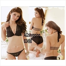 02498Korean straps Halter black sexy underwear Bra suit