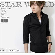Men Shirt- Three-quarter sleeve shirt -Black