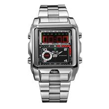 Weide Dual Time Led Wh1001 Silver Black Sport Digital Analog Watch