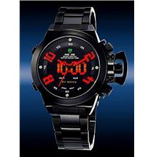 ORIGINAL WEIDE dual time LED wh1008 red ful black SPORT DIGITAL ANALOG..