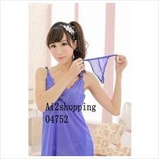 04752Blue solid color lace strap sexy sexy Lingerie+G-string