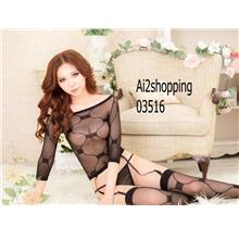03516Sexy long-sleeved sexy stockings sleepwear vest five pieces