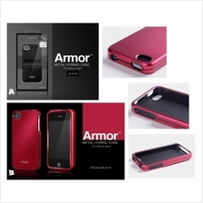 iPhone 4 4S MORE ARMOR METAL HYBRID Case Cover *FREE SP*
