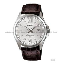 CASIO MTP-1376L-7AV STANDARD Analog date leather strap silver brown