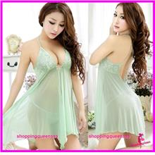 Halter Babydoll Dress + G-String Sleepwear Sexy Lingerie (3 Colors)
