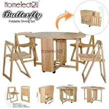 Foldable Dining Table And 4 Folding Chairs Dining Set 1+4