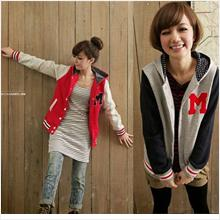 **BeautyMyth**Baseball Hooded Fleece Jacket ~ Red/ Blue/ Grey