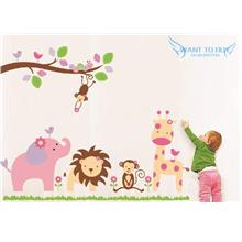 Monkey on the Tree Removable Wall sticker Decal Baby Nursery Wall Deco