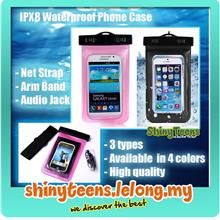 IPX8 Smart Phone Waterproof Bag Case w Armband Neck Strap Audio Jack