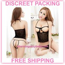 Sexy Lingerie Open Breast Dress G-String Sleepwear Pajamas (2 Colors))