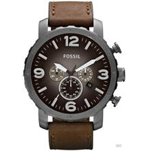 FOSSIL JR1424 Men's Analogue Nate Chrono Oversized Leather Strap Brown