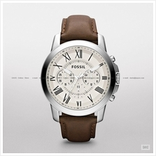 FOSSIL FS4735 Men's Analogue Grant Chronograph Leather Strap Brown