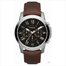 FOSSIL FS4813 Men's Analogue Grant Chronograph Leather Strap Brown