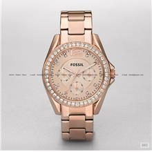 FOSSIL ES2811 Women's Analogue Riley Crystal Bracelet Rose Gold