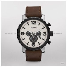 FOSSIL JR1390 Men's Analogue Nate Chronograph Oversized Leather Brown