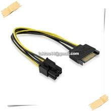 New SATA to 6 Pin PCI-Express PCIE PCI-E Graphic card Power Adaptor