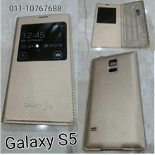 Samsung Galaxy S5 Gold S view water proof IC chip flip battery cover