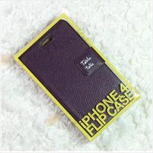 iPhone 4 4S Table Talk Super Slim Leather Cover Case Casing [Purple]
