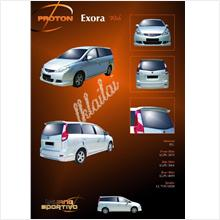 Proton Exora '09-11 Wish Style Full Set Body Kit PU Skirting + Spoiler
