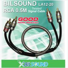 BIL-SOUND LA12-20 0.5 Meter Twisted Signal RCA Cable Made In Germany