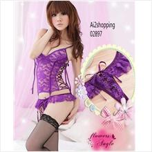 Sexy sleepwear sexy purple lace + G-string 02897