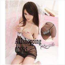 02905Korea hot models pearl Halter gel Breast sexy sleepwear+thong