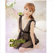 03348Models lace nightgown sexy deep V front and rear+Thong